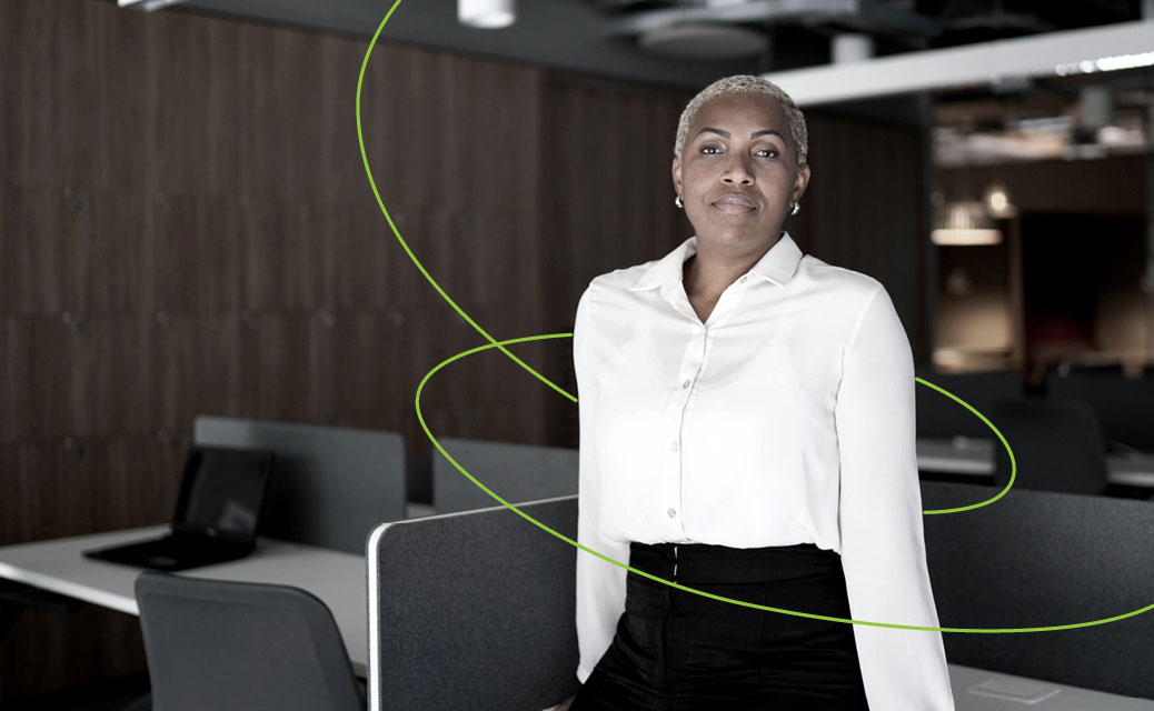 A woman standing in an office
