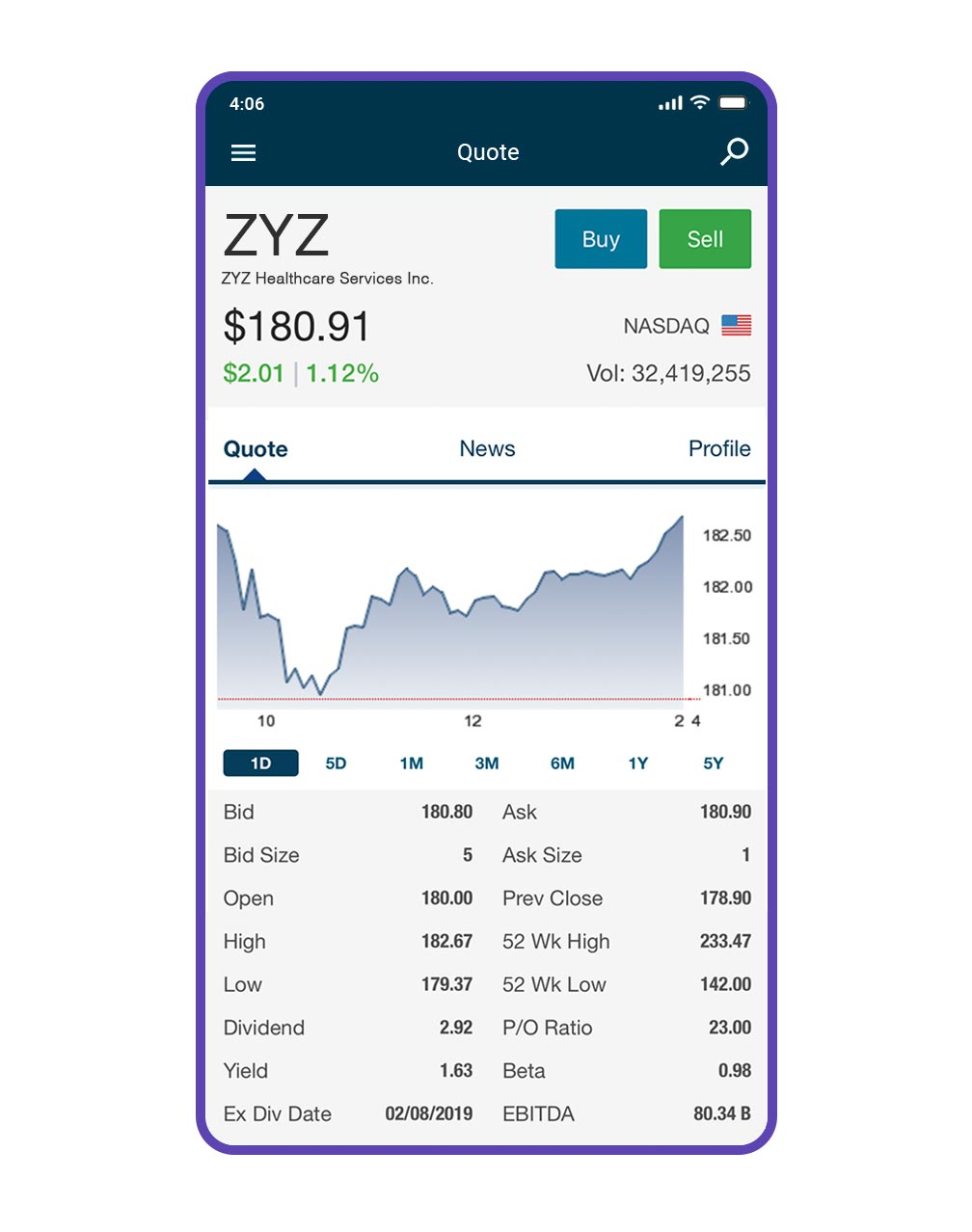 An iPhone showing the quote screen on the Qtrade app
